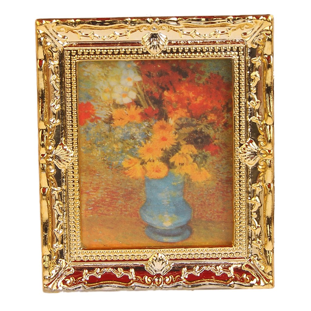 1:12 Golden Plastic Frame Flower Oil Painters Miniature Dollhouse Furniture