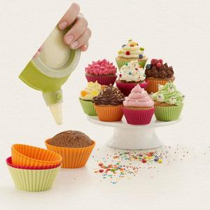 Image 3 - 16 teile/los Muffin Cupcake Mould Bunte Runde Form Silikon Cupcake Mould Backformen Maker Form Tablett Backen Tasse Liner Formen