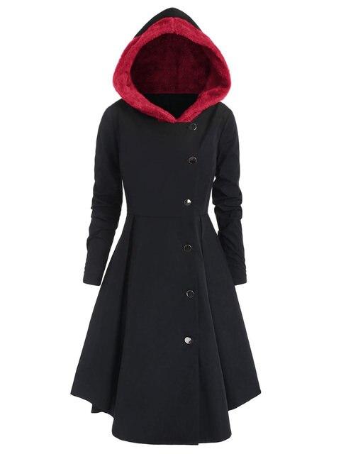 30c91933eaae Wipalo Winter Plus Size Asymmetric Fleece Contrast Color Block ...