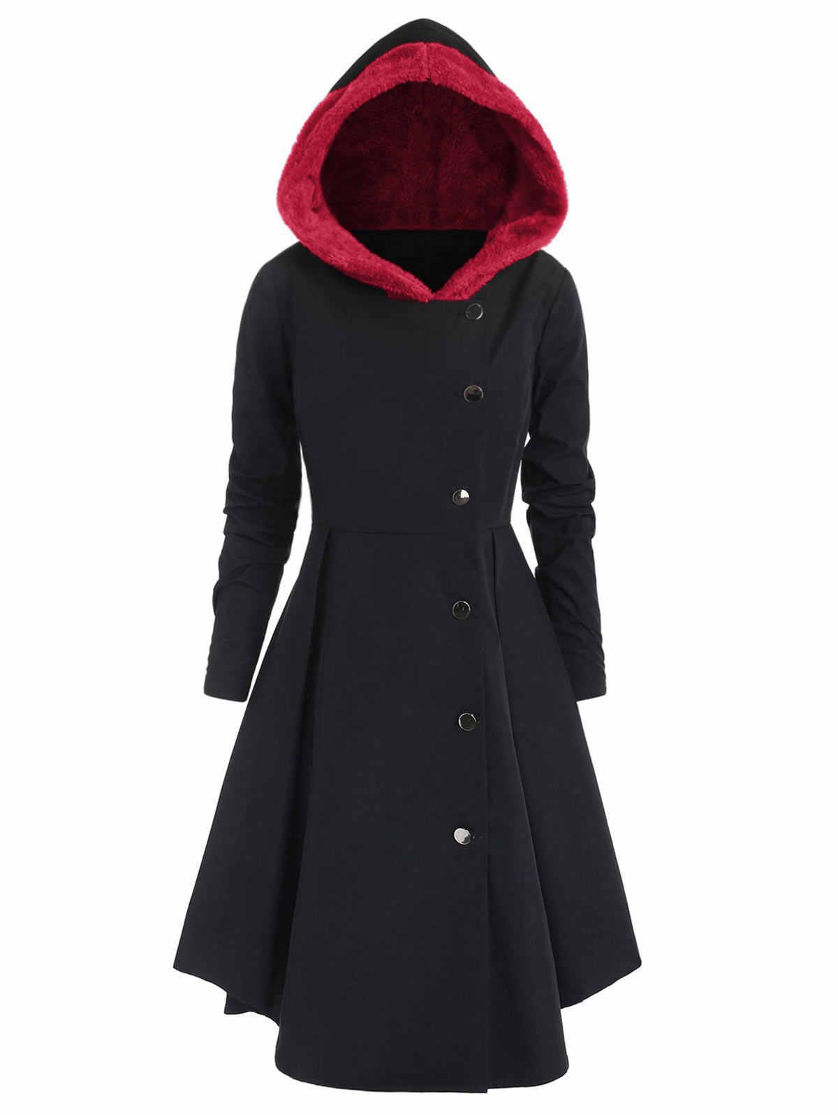 Wipalo зима плюс размеры Асимметричная флис контрастный колор блок однобортный с капюшоном юбка для женщин пальто Длинная Верхняя одежда пальт