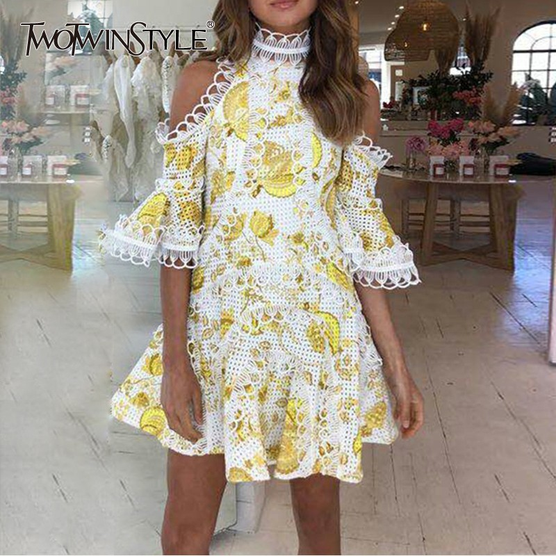 TWOTWINSTYLE Sexy Off Shoulder Women Dress Flare Sleeve Hollow Out High Waist Mini Female Dresses Casual