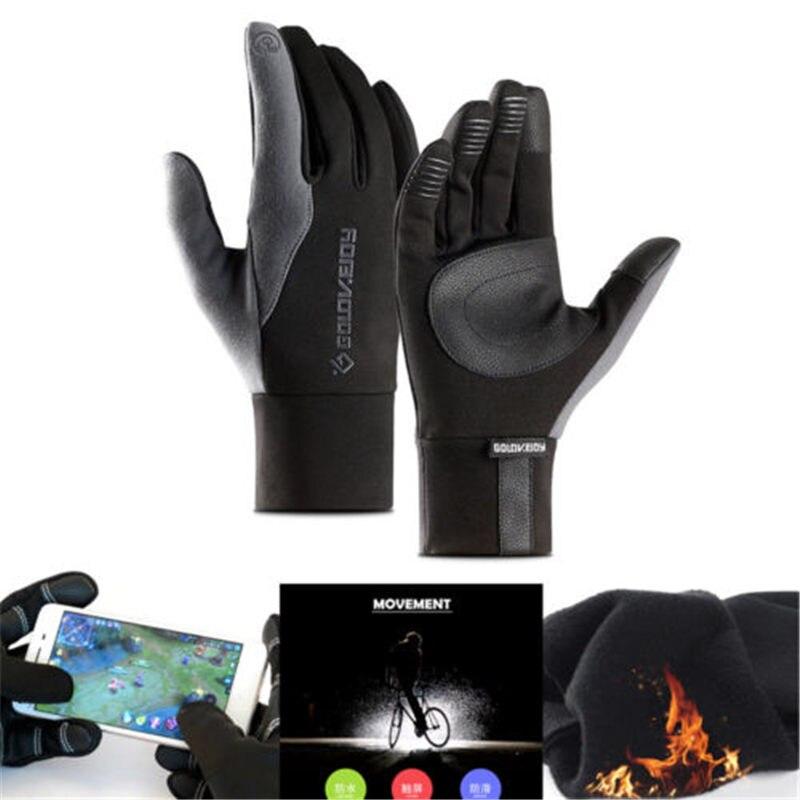 Hirigin Hot Sale Men's Genuine Lambskin Leather Button Wrist Winter Warm Fleece Lining Gloves Full Finger Touch Screen Gloves