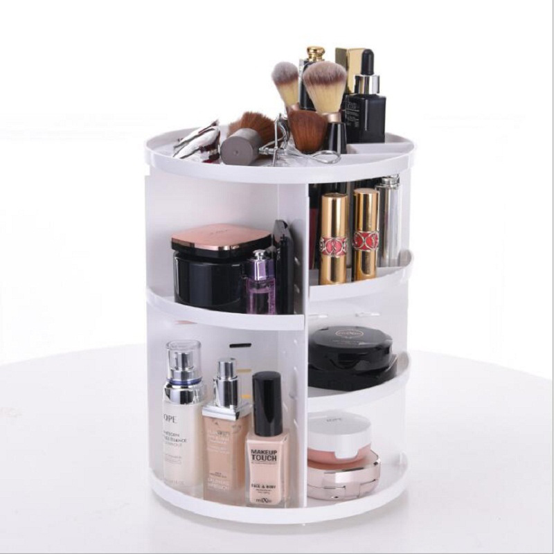 Image 3 - Fashion 360 degree Rotating Makeup Organizer Box Brush Holder Jewelry Organizer Case Jewelry Makeup Cosmetic Storage Box-in Makeup Organizers from Home & Garden