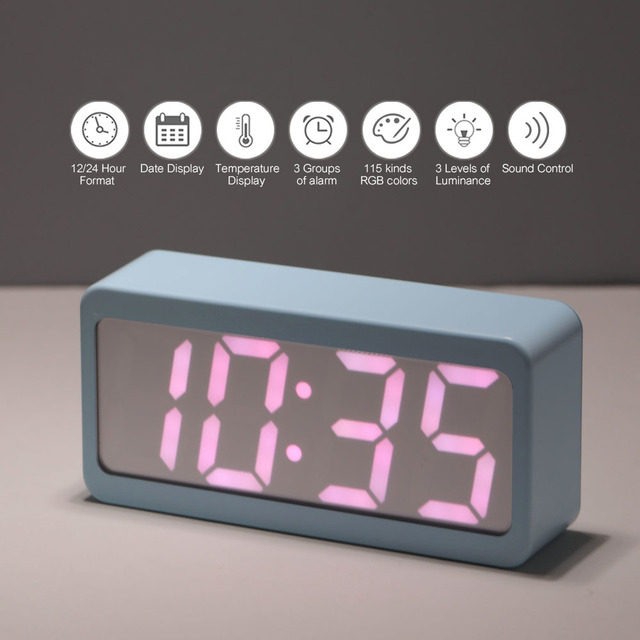 d56cf540 Led Usb Battery Alarm Clock Powered Digital Rgb Indoor Thermometer  Electronic Desktop Table Clocks Best Selling