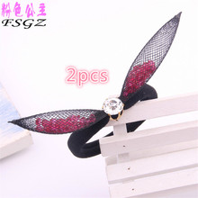 2017 New arrival girls hair bands with bowknot colors crystal elastic hairbands high grate rubbers for lady GOOD QUALITY