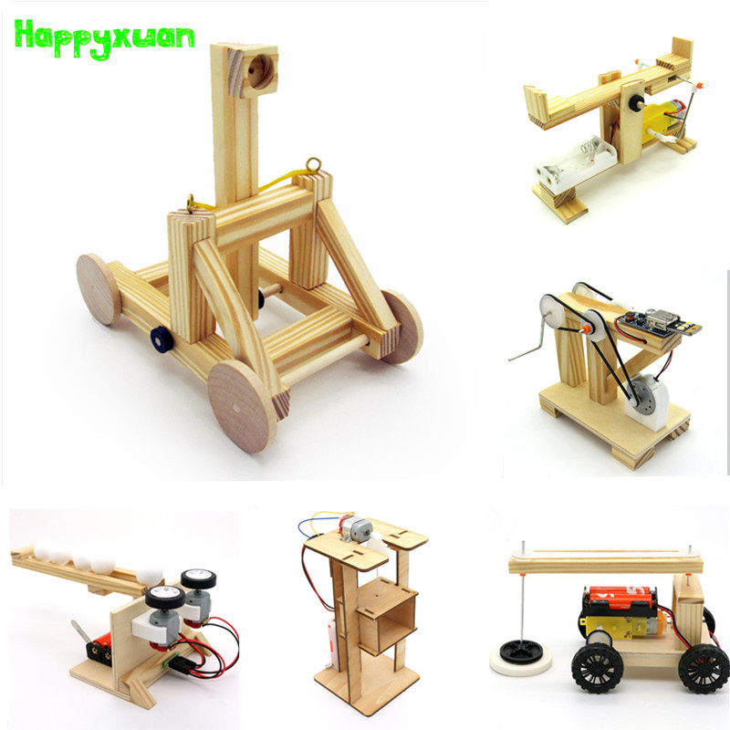 Happyxuan STEM Education Kits DIY Children Science Project Discovery Toys Boy Creative Wooden Model School  Physics Experiments