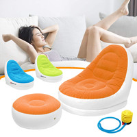 Flocking Inflatable Sofa With Foot Rest Cushion Garden Lounger Home Living Room Outdoor Air Lounge Chairs Furniture Infatables
