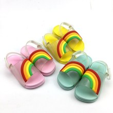 New 2019 Rainbow Mini Shoes Melissa Sandals for Girls Summer Breathable Beach Non-slip Baby Boy Fashion Sequins