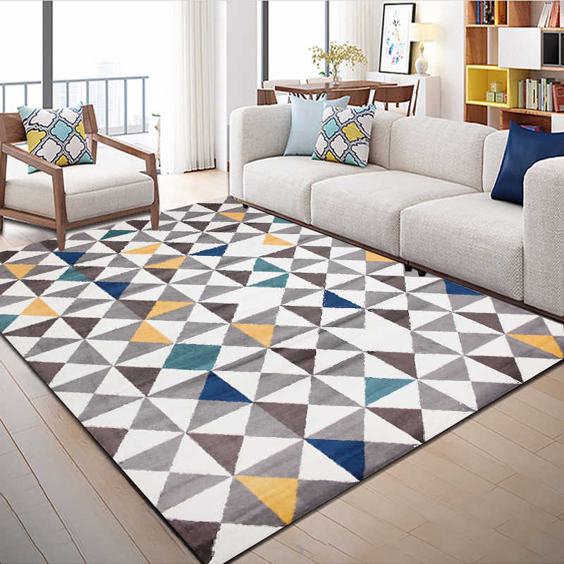 Fashion Abstract Grey Blue Yellow Triangle Print Foot Door Kitchen Mat Living Room Bedroom Parlor Area Rug Decorative Carpet Carpet Aliexpress