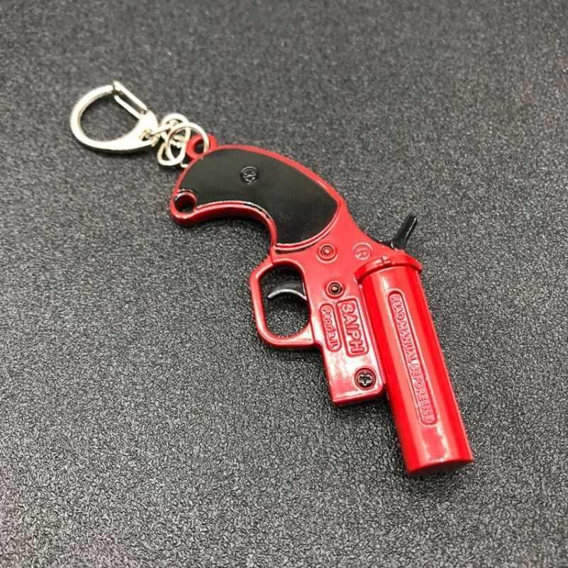 Jogo arma brinquedos chave chian playerunknown campo de batalha pubg chaveiro flare gun vermelho liga pingente masculino llaveros jóias para homem
