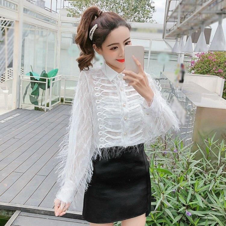 03822d9c551cc Maillots Sexy Solide Printemps Dame Noir Maille 2019 Femmes blanc Chemises  Blouses À Style Gland Longues Perspective Bureau Palais Élégantes Manches  ...