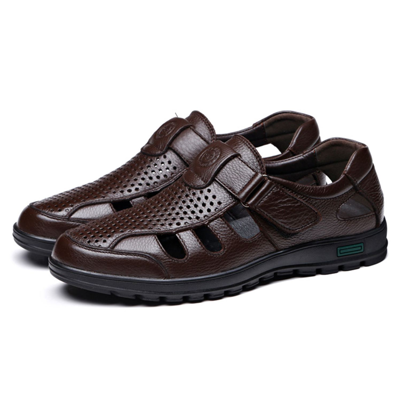 FGGS Genuine Leather Men Sandals Shoes Fretwork Breathable Fisherman Shoes Style Retro Gladiator Soft Bottom Summer Classics M