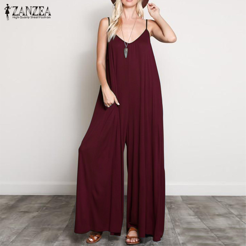2019 Plus Size ZANZEA Summer Women Solid Sleeveles Party Jumpsuits Sexy Deep V Neck Wide Leg Pants Rompers Playsuits Female 5XL