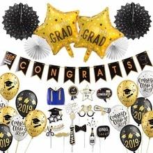 2019 de graduación con globos de látex colgantes condecoraciones Banner fotomatón accesorios adornos para fiesta de graduación favores