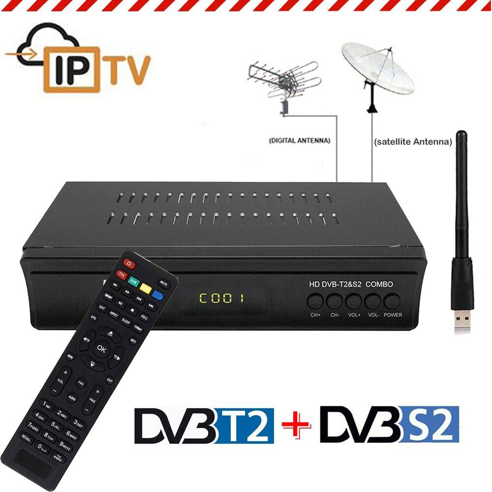DVB-T2 Boîte De TÉLÉVISION Numérique DVB-S2 Récepteur Satellite TV Tuner DVBT2 Récepteur DVB T2 Combo Décodeur Wifi Biss Puissance Clé vu Décodeur