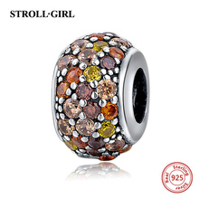 StrollGirl 925 Silver Beads Pandora colorful round Charms with CZ stone Fit Original charm Bracelet DIY jewelry making gift