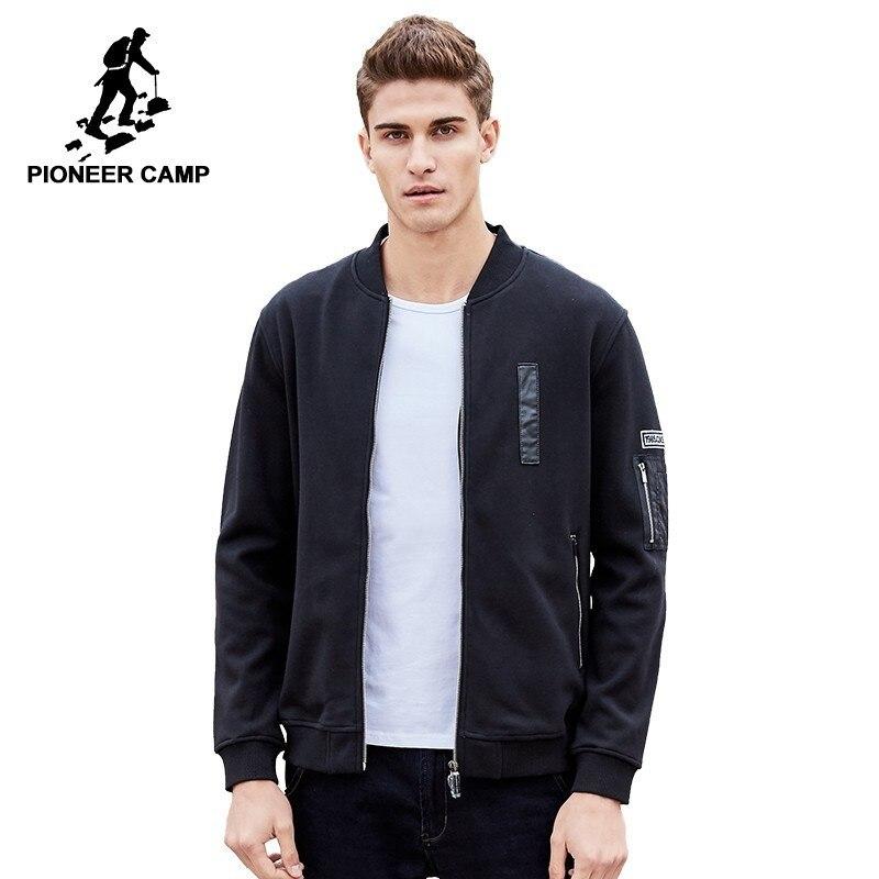 Pioneer Camp hommes veste à capuche poche latérale chaud noir épais polaire coupe-vent Zipper Cool sweat pour homme 520032