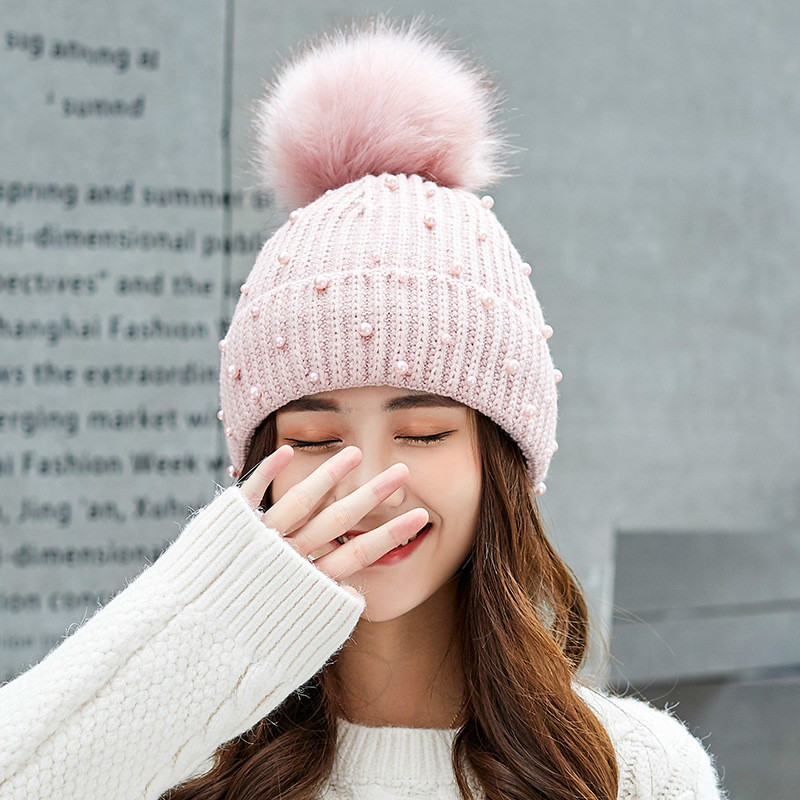 651968c2c1c New Wool Beanies Women Real Natural Fur Pom Poms Fashion Pearl Knitted Hat  Girls Female Beanie