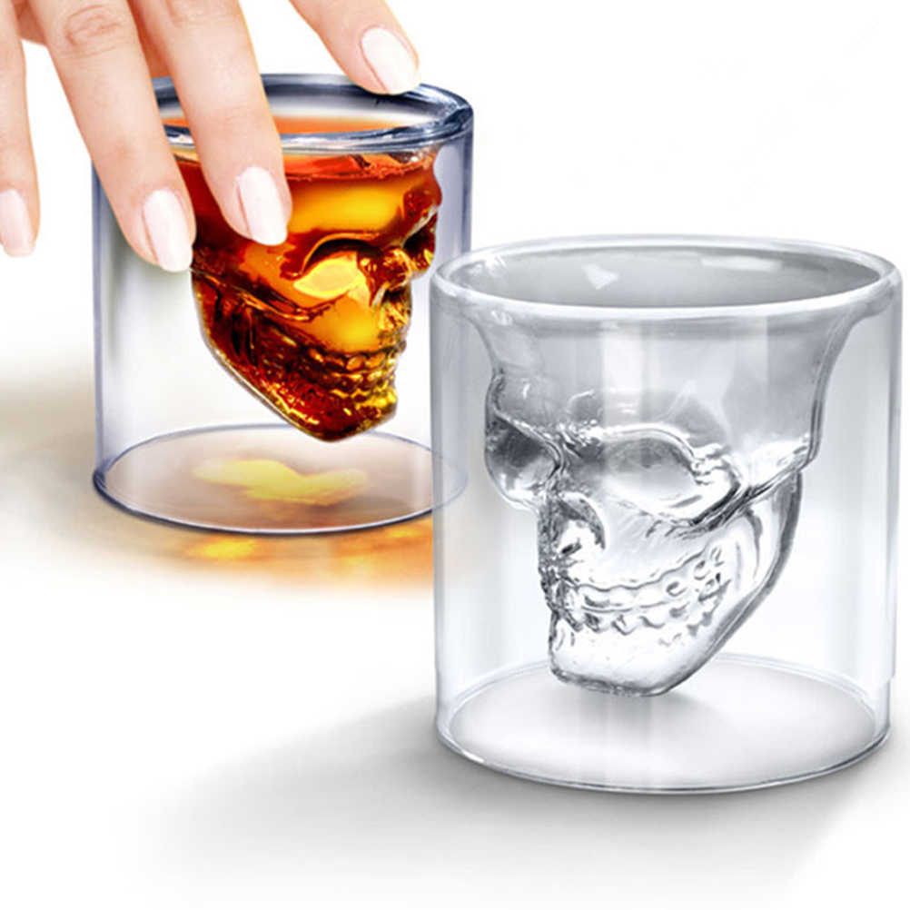 75ml Wine cup Double Layers Crystal Mug Skull Head Whiskey Drinking Glass Cup Home/Party Drinking Ware Accessories Dropshipping