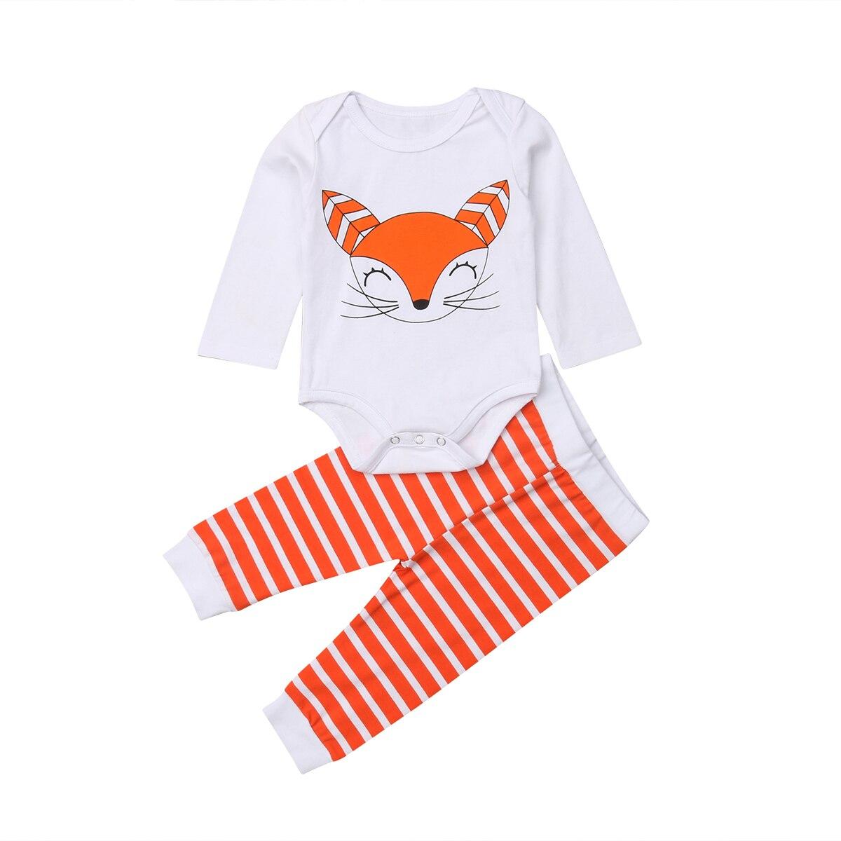 0-18 Mt Infant Neugeborenen Baby Junge Mädchen Langarm Fuchs Baumwolle Body Tops Striped Lange Hose 2 Stücke Herbst Kleidung Set Um 50 Prozent Reduziert