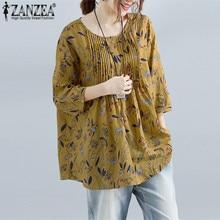 Plus Size ZANZEA 2019 Summer Women Blouse Loose Floral Print Shirt Linen Cotton Top 3/4 Sleeve Blusa Feminina Casual Camisa