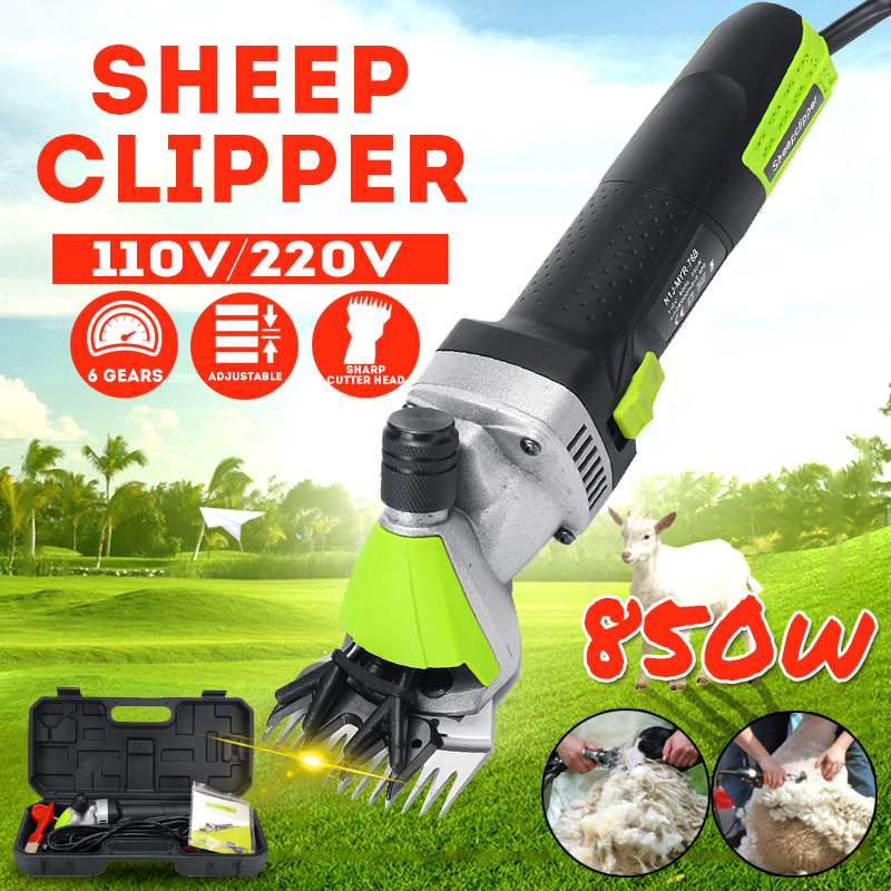850W 110/220V Electric Sheep Horse Shearing Clipper Cool Temperature 6 Gear Adjustable Goat Wool Scissors Cutter 13 teeth blade