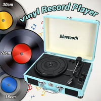 Vintage Bluetooth Portable 33/45/78RPM Turntables Vinyl LP Record Phono Player Aux in RCA Line out Built in Battery 100~240V
