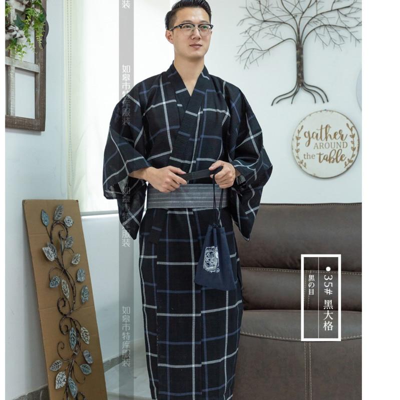 Male Cool Traditional Japanese Kimono Men's Cotton Robe Yukata Men's Bath Robe Kimono Sleepwear With Belt Handbag H9058