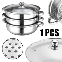 Durable 3 Tier Steamer Stainless Steel Induction Steam Steaming Saucepan Pot For Kitchen Cookware Tool