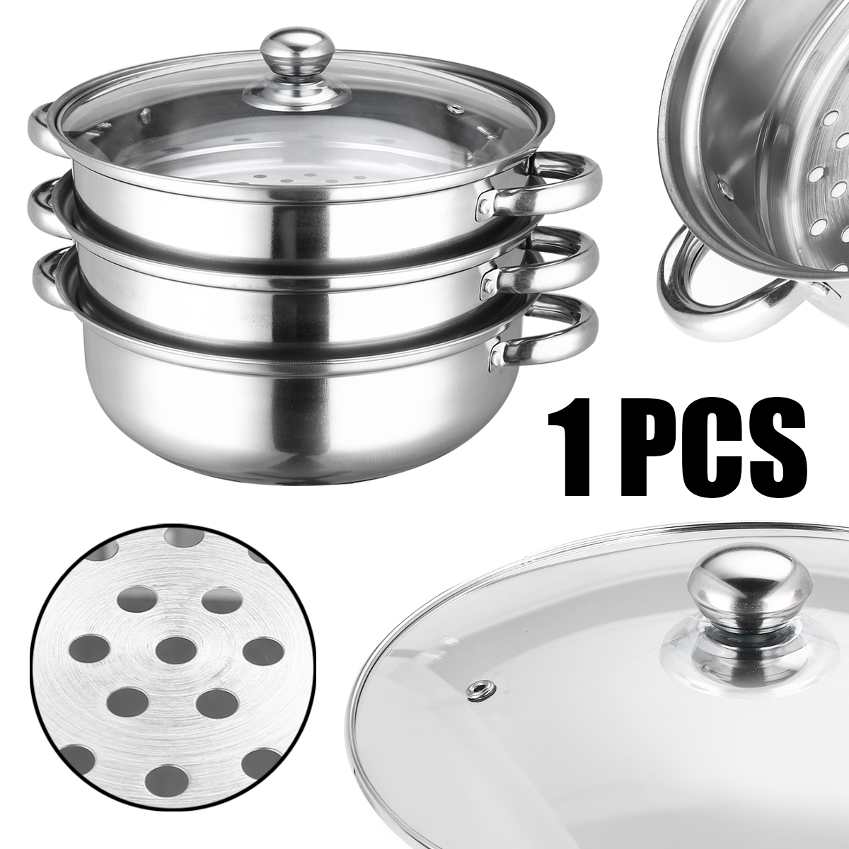 Durable 3 Tiers Steamer Stainless Steel Induction Steam Saucepan Pot Dim Sum Bun Fish Steaming Tools Useful Kitchen Cookware