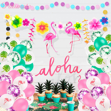 Flamingo Decoration Tropical Summer Beach Birthday Party Decor Events Luau Flamingo Hawaii Hawaiian Party Supplies Hibiscus цена 2017