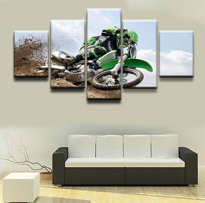 Home Decor 5 Panel Motocross Limit Oil Canvas Painting For Living Room Art Printed On Wall Pictures
