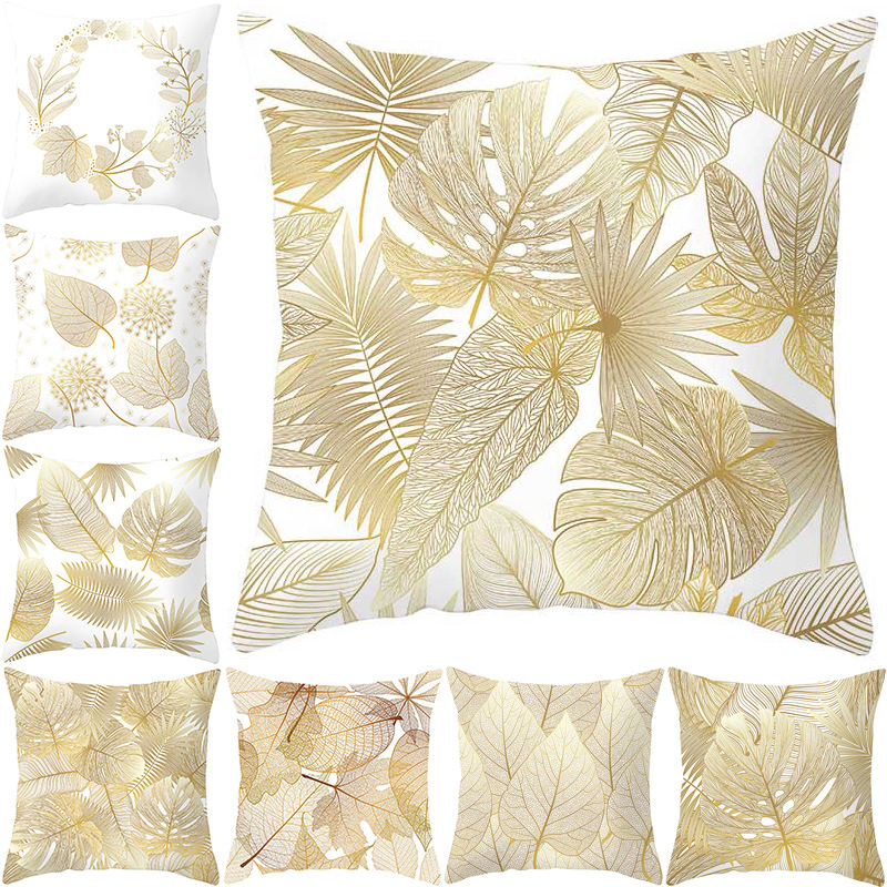 Polyester Decorative Golden Flowers Throw Pillows 45*45CM Leaves Pillow Case Home Soft Cover 1PC