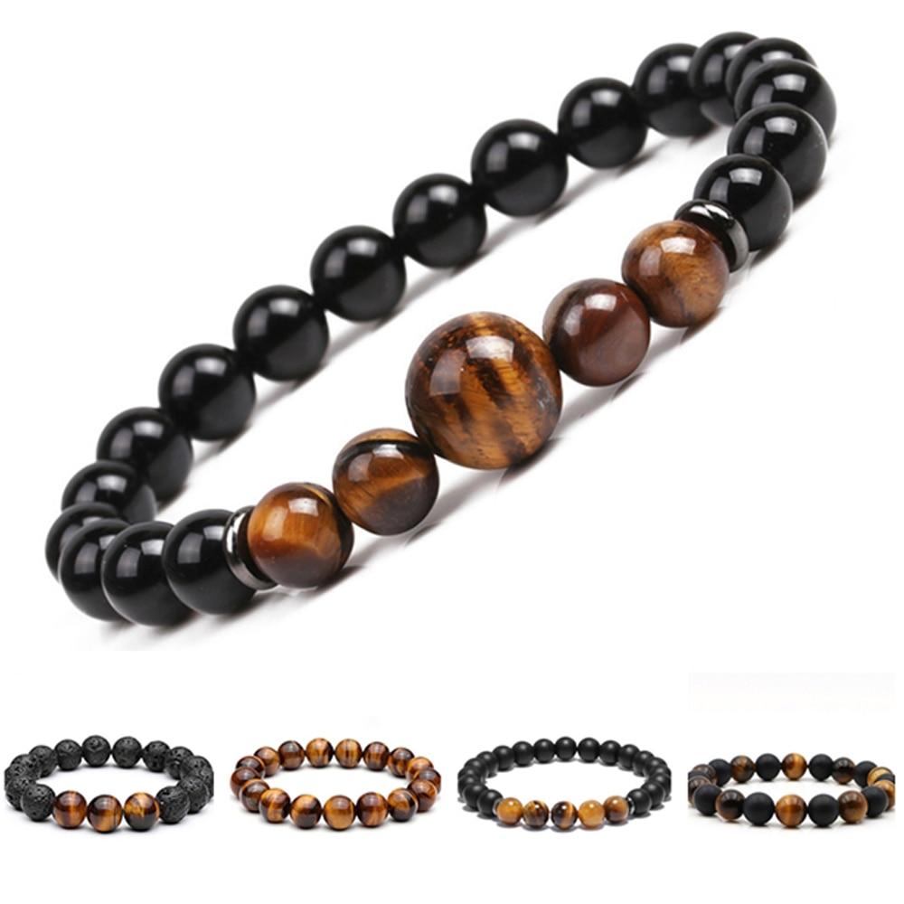 Chakra Beaded Bracelet Men 8mm 12mm Natural Stone Lava Rock Tiger Eye Onyx Matte Howlite Healing Beads Charm Yoga Women Jewelry