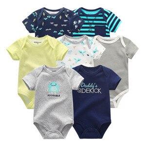 Image 4 - 2019 7 stks/partij Pasgeboren Baby Meisje Kleding Baby Boy Kleding Katoen Eenhoorn Bodysuits Jumpsuit Ropa bebe Korte Mouw Zwart Wit