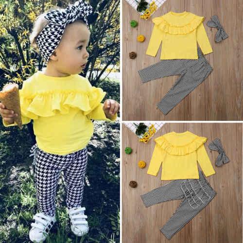 3 stks Peuter Kids Baby Meisje Winter Kleding Ruche Plaid Tops + Lange Broek Outfits