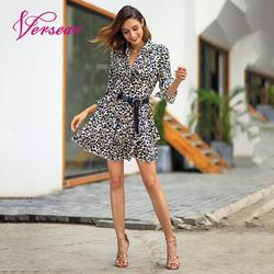 Versear Women Leopard Print Dress Sexy V Neck Bow Tie Long Flare Sleeve Spliced Ruffle Party Mini Dress Autumn OL Fashion Dress 11