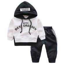 цена на 2019 Spring Autumn Cotton Clothes Sets Baby Girls Boys Sports Hooded T Shirt Sweatshirt  Pants 2pcs Children Kids Casual Suits