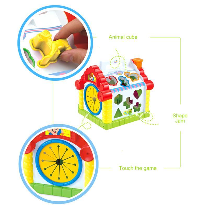Cube d'activité avec perle labyrinthe drôle maison jouer jouet début d'apprentissage Puzzle cognitif jouet blocs de construction clavier Playset pour bébé - 4