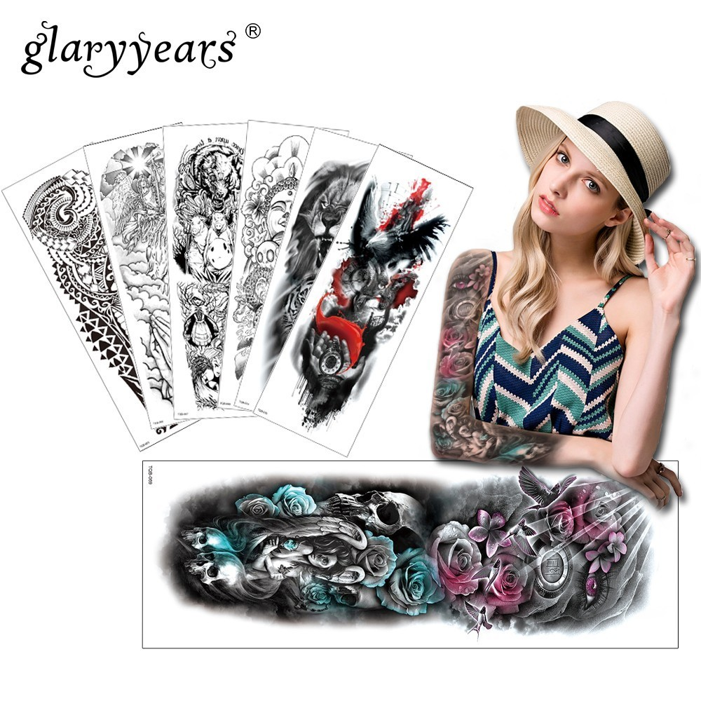 Glaryyears 1 Pc Large Arm Temporary Tattoo Sticker Lion Fake Tatoo Sleeve Flash Tatto Waterproof Big Body Art Men Women TQB