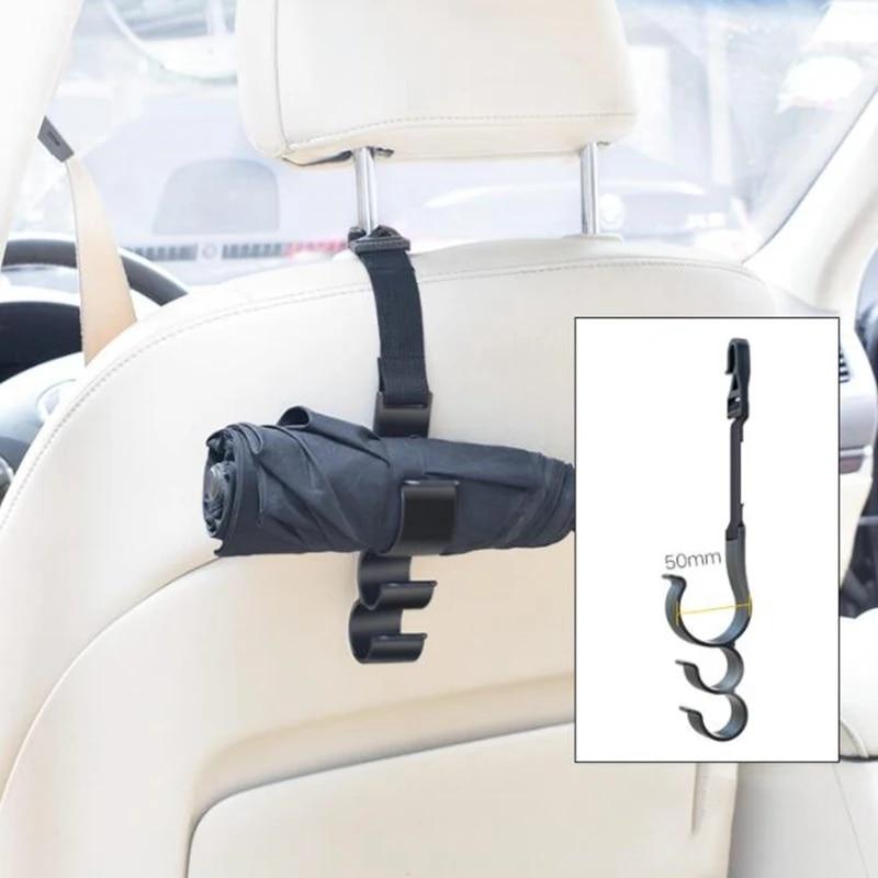 Headrest Hooks Universal Multi-Function Plastic Double Umbrella Hook Umbrella Hanger Mount Holder Compatible with RV SUV MPV Car Accessories Organizer Color : Ordinary