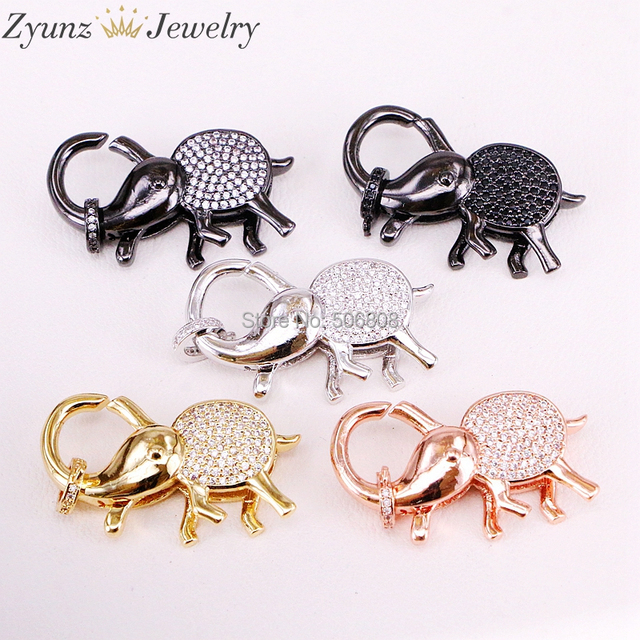 5PCS ZYZ324 9747 CZ Micro Pave Elephant Lobster Claw Clasp, Cubic Zirconia Pave elephant Connector/Clasp/link, in Mix Colors