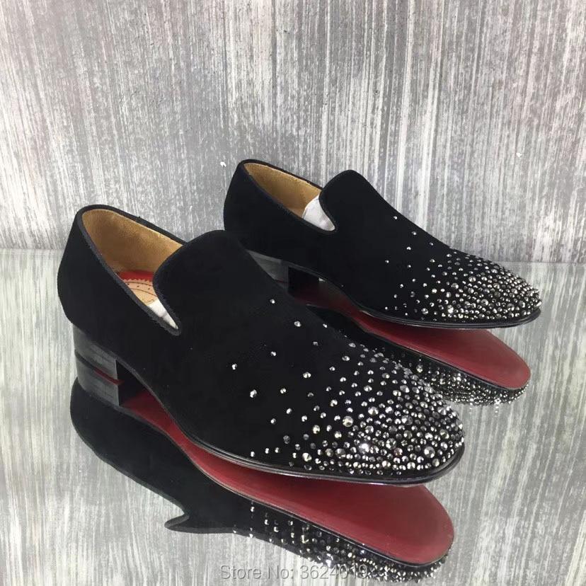 Fondo De Zapatillas Imitación Rojo Zapatos Slip Andgz Tacón Hombre Diamantes Casuales Vaca Diamante Cl Para Planos Los Deporte Negro Hombres Frente Bajo Cuero 0q84P