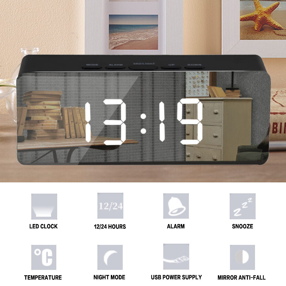 Led Mirror Alarm Clock Digital Snooze Table Clock With Thermometer USB Rechargeable Large Electronic Display Multifunction-in Alarm Clocks from Home & Garden