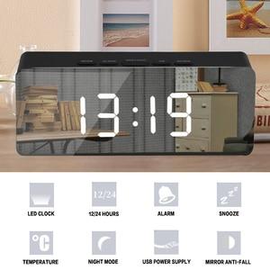 Image 5 - Led مرآة ساعة تنبيه غفوة الرقمية ساعة الطاولة مع ميزان الحرارة USB قابلة للشحن شاشة إلكترونية كبيرة متعددة الوظائف