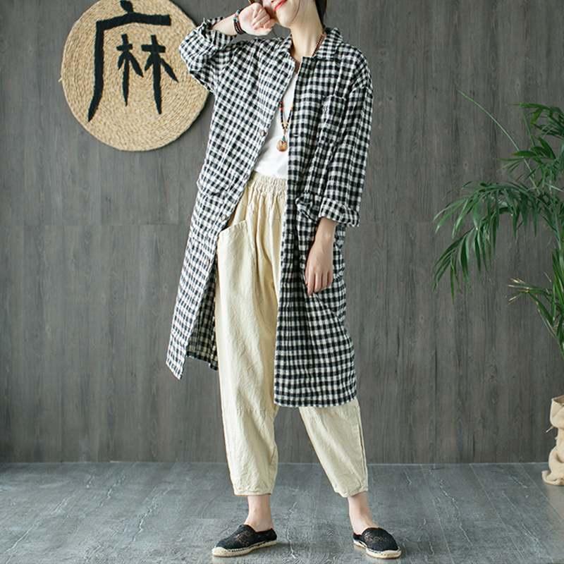 ZANZEA Women Casual Plaid Coats Long   Jackets   Outwear Female Lapel Buttons Up Coat Autumn Long Sleeve   Basic     Jackets   Chaquet Mujer
