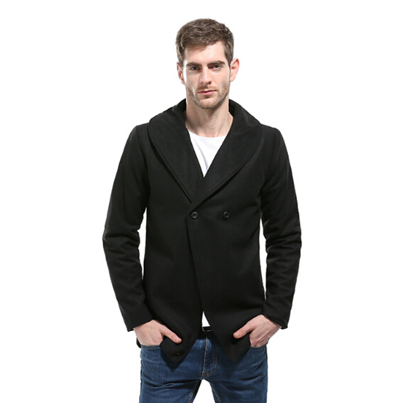 Men's Long Wool Trench Coat Brand New Wool & Blends Winter Men Coat Slim Fit One Button Fashion Male Solid Coat 2XL