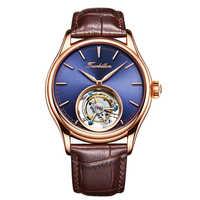 Montres hommes mécaniques à extrémité élevé de Tourbillon d'affaires de cadran bleu montre-bracelet en cuir de vent de main mécanique
