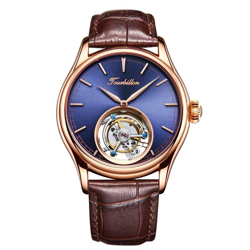 Personalizado Negócio High End Tourbillon Homens Mecânicos Relógios De Pulso Azul Dial Vento Mão Mecânica Mens Relógio de Pulso de Couro