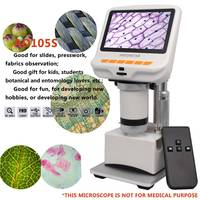 Andonstar AD105S Microscope With Stand Remote 4.3 Inch 600X FHD 1080P Digital USB Microscope Built in Display Slides Movable Bl